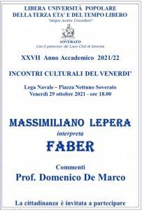 Soverato – Venerdì 29 Ottobre Massimiliano Lepera interpreta Faber